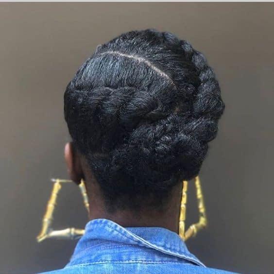 asymmetrical flat twist on 4c hair
